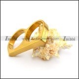 gold plated double finger ring for men in stainless steel r004710