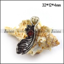 Vintage Feather Charm with Red Rhinestone p003659