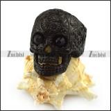 Black Rhinestones Eyes Flower Skull Ring r004309