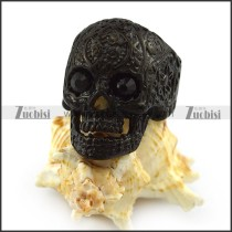 Black Rhinestones Eyes Flower Skull Ring r004309