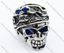 Fierce Stainless Steel skull Ring with blue eyes - JR090274