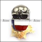 Enamal Flag Skull Badass Ring for Bikers r003823