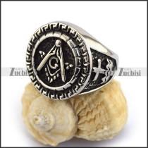 Round Silver Masonic Ring r003612