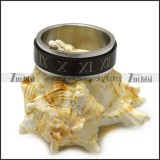black roman numbers band spinner ring r005389