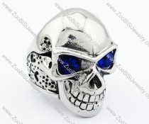 Clear Blue Eyes Stainless Steel skull Ring - JR090277