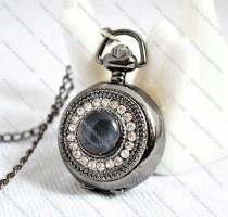 Rhinestone Pocket Watch with 1 big Black Stone  -PW000159
