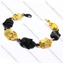 4 Gold Plating Rough Skull and 3 Black Skull Heads Charms Bracelet JB170101