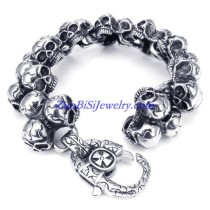 heavy 3 skull heads casting bracelet for men JB450002