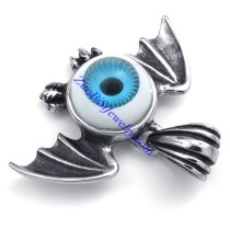 Blue Round Evil Eye Pendant Crafted Casting Bat in Stainless Steel -JP450002