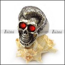 Ruby Skull Ring with Beautiful Hair r004307