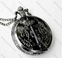 Black Gun Metal Quartz movement Pocket Watch Chain - PW000062