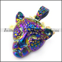 Colorful Tone Leopard Head Pendant p004887