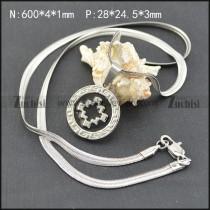 60cm Long Herringbone Chain Necklace with Cross Medallion n001905