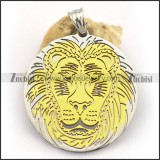 Stainless Steel Pendant with Gold Plated Lion Face p003259