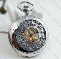 Silver Ornamental Engraving Pocket Watch Chain - PW000092
