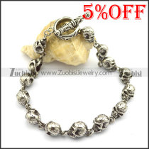 14 small flower skull bracelets for women b002778