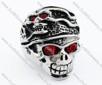 Ugly Red Eyes Stainless Steel skull Ring - JR090275