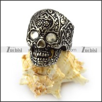 Clear Rhinestones Eyes Flower Skull Ring r004302
