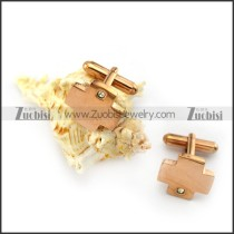 Rose Gold Cross Cufflink with Clear Small Rhinestone c000062