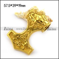 Shiny Gold Stainless Hammer Viking Pendant p004225