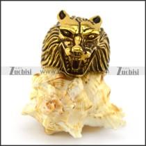 Golden Wolf Head Ring r004883