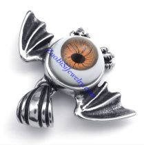 Round Evil Eye Ball Pendant Crafted Casting Bat in Stainless Steel -JP450001