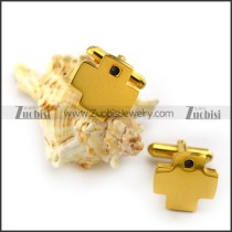 Yellow Gold Stanless Steel Cross Cufflink c000061