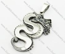 Silver Stainless Steel Dragon Pendant -JP140103