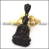 Buddha Pendant in Black Plating Stainless Steel p004928