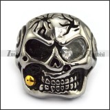 Rock Skull Ring with Big Clear Zircon Eye and Gold Plating Smoking Pipe JR500007