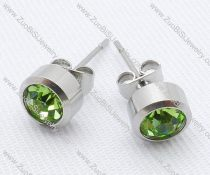 Clear Green Zircon Stainless Steel earring - JE050004