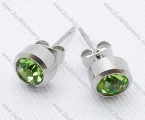 Clear Green Zircon Stainless Steel earring - JE050004