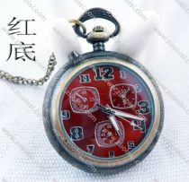 Vintage Lighting Pocket Watch with Red Face - PW000012-R