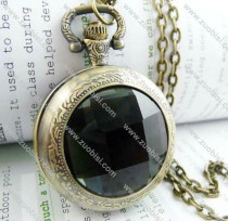 Black Faceted Plastic Watch Face Pocket Watch -PW000188