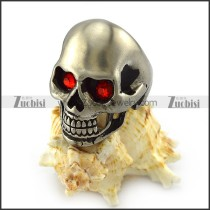 Matt Stainless Steel Skull Ring with Ruby Rhinestone Eyes r004288