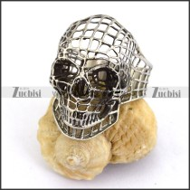 Silver Stainless Steel Hollow Skull Ring r003659