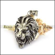 Antique Silver Stainless Steel Lion Head Pendant p003346