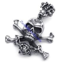 punk large skull rose pendnat JP350189
