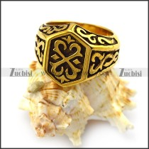Thor Hammer Ring in Gold Plating Stainless Steel r004384