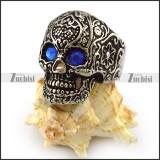 Antique Silver Stainless Steel Blue Eyes Flower Skull Ring r004304