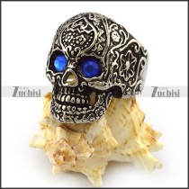 Antique Silver Stainless Steel Blue Eyes Flower Skull Ring r004304