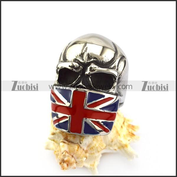 United Kingdom Flag Skull Ring r004971