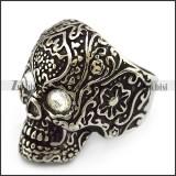 Clear Rhinestones Eyes Flower Skull Ring r004302