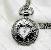 Shiny Black Gun Metal Heart Pocket Watch Chain - PW000083