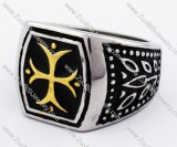 Stainless Steel ring with gold plating cross in middle - JR280125