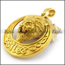 Shiny Gold Stainless Steel Lion Pendant p003294