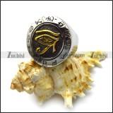 stainless steel golden eye of horus ring r005195