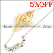 Flying Wings Heart Necklace Chain n001316