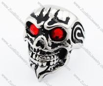 Red Stone Eyes Stainless Steel skull Ring -JR010224
