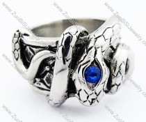 Stainless Steel Blue Zircon Eye Snake Ring - JR300006